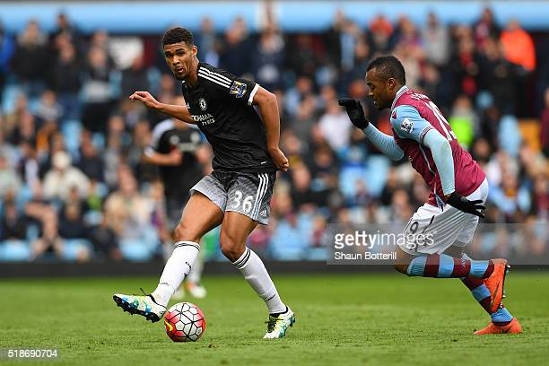 Ruben LoftusCheek of Chelsea and Jordan Ayew of Aston Villa compete for the ball during the Barclays Premier League match between Aston Villa and...