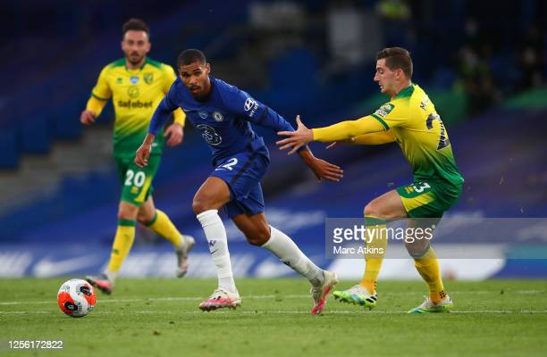 Ruben LoftusCheek of Chelsea and Kenny McLean of Norwich City during the Premier League match between Chelsea FC and Norwich City at Stamford Bridge...