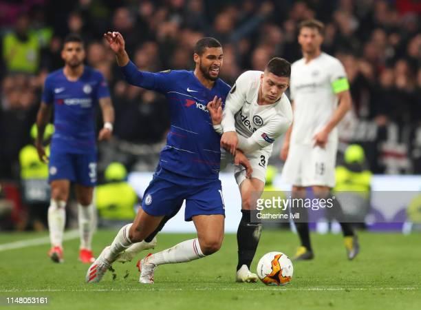 Ruben LoftusCheek of Chelsea battles for possession with Luka Jovic of Eintracht Frankfurt during the UEFA Europa League Semi Final Second Leg match...