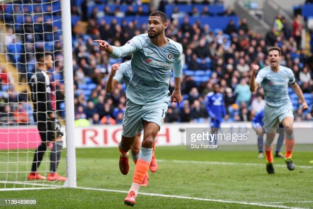 Ruben LoftusCheek of Chelsea celebrates after he scores his sides second goal during the Premier League match between Cardiff City and Chelsea FC at...