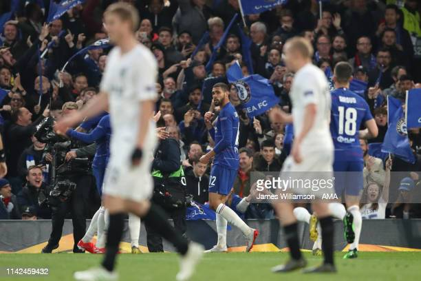 Ruben LoftusCheek of Chelsea celebrates after scoring a goal to make it 10 during the UEFA Europa League Semi Final Second Leg match between Chelsea...