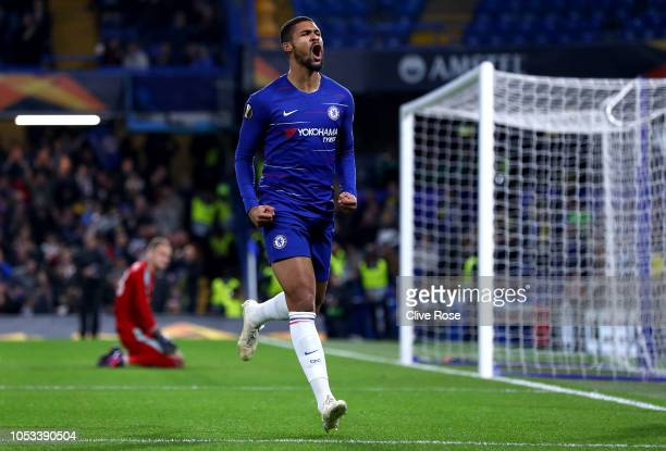 Ruben LoftusCheek of Chelsea celebrates after scoring his sides first goal during the UEFA Europa League Group L match between Chelsea and FC BATE...