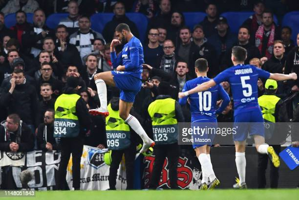 Ruben LoftusCheek of Chelsea celebrates after scoring his team's first goal during the UEFA Europa League Semi Final Second Leg match between Chelsea...