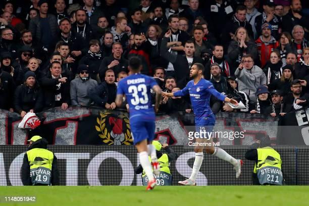 Ruben LoftusCheek of Chelsea celebrates after scoring his team's first goal during the UEFA Europa League Semi Final Second Leg match between Chelsea...