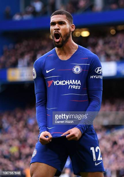 Ruben LoftusCheek of Chelsea celebrates after scoring his team's second goal during the Premier League match between Chelsea FC and Fulham FC at...