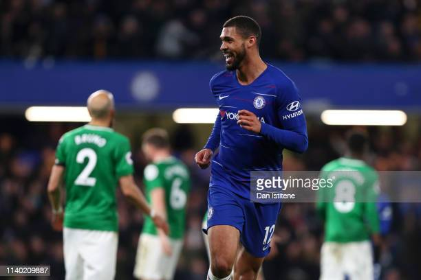 Ruben LoftusCheek of Chelsea celebrates after scoring his team's third goal during the Premier League match between Chelsea FC and Brighton Hove...