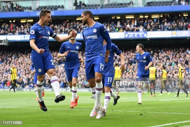 Ruben LoftusCheek of Chelsea celebrates as he scores his team's first goal with Cesar Azpilicueta during the Premier League match between Chelsea FC...
