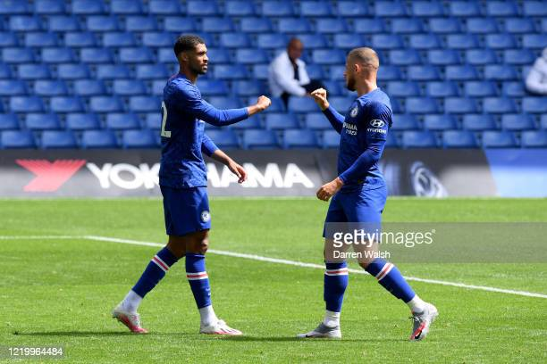 Ruben LoftusCheek of Chelsea celebrates his goal and Chelsea 5th with Ross Barkley during a friendly match between Chelsea and Queens Park Rangers at...