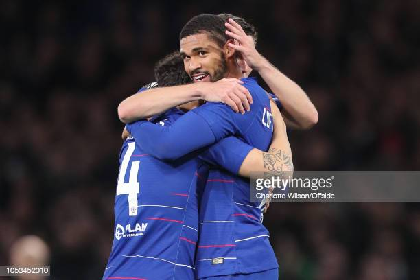 Ruben LoftusCheek of Chelsea celebrates scoring a hattrick during the UEFA Europa League Group L match between Chelsea and FC BATE Borisov at...