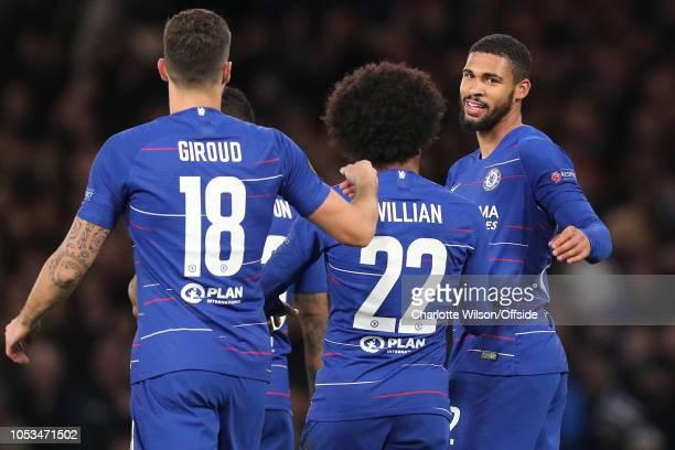 Ruben LoftusCheek of Chelsea celebrates scoring a hattrick during the UEFA Europa League Group L match between Chelsea and FC BATE Borisov at...