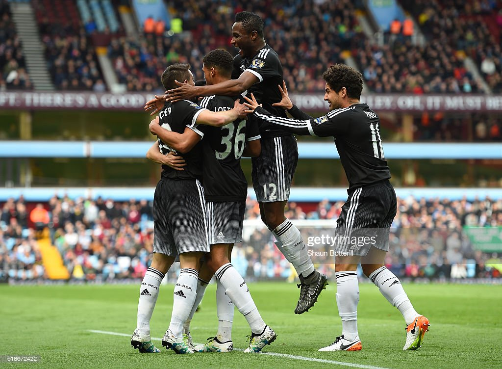 Ruben Loftus-Cheek (2nd L) of Chelsea celebrates scoring his team's first goal with his team mates Cesar Azpilicueta (1st L), John Mikel Obi (2nd R) and Alexandre Pato (1st R) during the Barclays Premier League match between Aston Villa and Chelsea at Villa Park on April 2, 2016 in Birmingham, England.