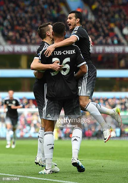 Ruben LoftusCheek of Chelsea celebrates scoring his team's first goal with his team mates Cesar Azpilicueta and Pedro during the Barclays Premier...
