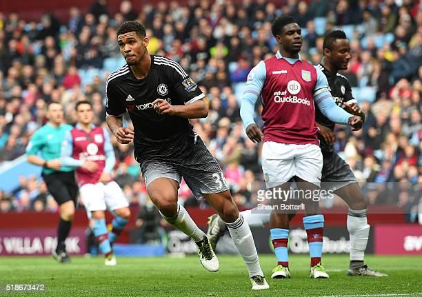Ruben LoftusCheek of Chelsea celebrates scoring his team's first goal during the Barclays Premier League match between Aston Villa and Chelsea at...