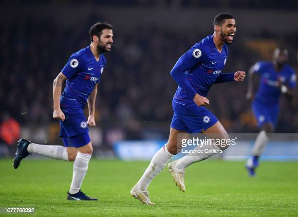 Ruben LoftusCheek of Chelsea celebrates scoring the opening goal followed by Cesc Fabregas during the Premier League match between Wolverhampton...