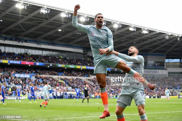 Ruben LoftusCheek of Chelsea celebrates with Olivier Giroud of Chelsea after he scores his sides second goal during the Premier League match between...