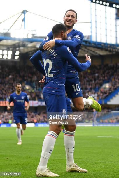 Ruben LoftusCheek of Chelsea celebrates with teammate Eden Hazard after scoring his team's second goal during the Premier League match between...