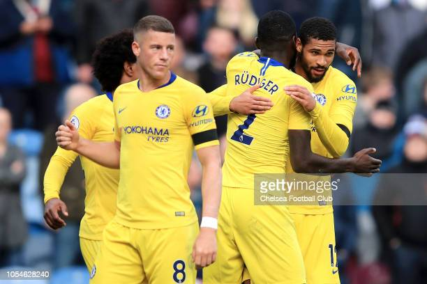Ruben LoftusCheek of Chelsea celebrates with teammates Ross Barkley Antonio Ruediger and Willian after scoring his sides fourth goal during the...