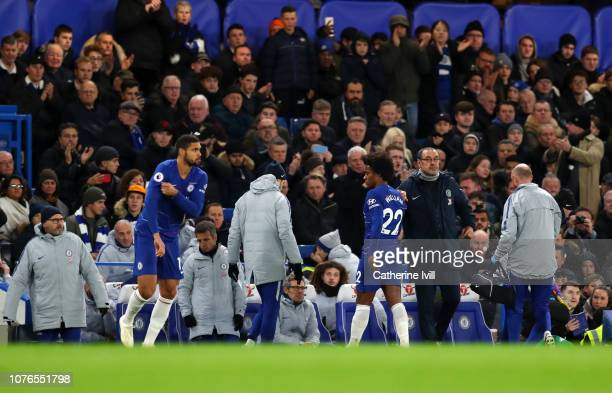 Ruben LoftusCheek of Chelsea comes on the pitch as Willian of Chelsea in embraced by Maurizio Sarri Manager of Chelsea as he comes off from an injury...