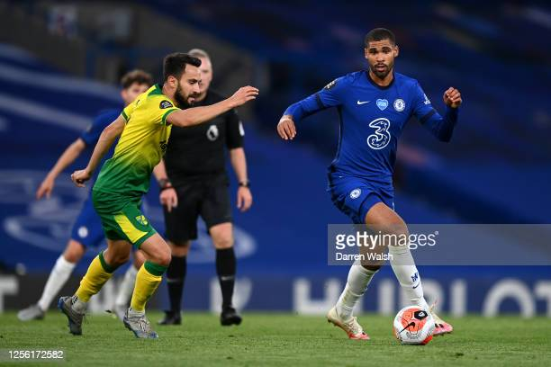 Ruben LoftusCheek of Chelsea controls the ball during the Premier League match between Chelsea FC and Norwich City at Stamford Bridge on July 14 2020...