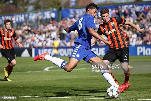 Ruben LoftusCheek of Chelsea FC shoots the ball under pressure from Mykola Matviyenko of Shakhtar Donetsk during the UEFA Youth League Final match...