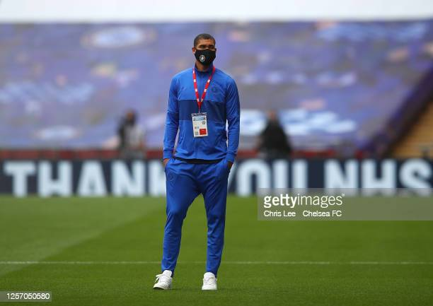 Ruben LoftusCheek of Chelsea inspects the pitch ahead of the FA Cup Semi Final match between Manchester United and Chelsea at Wembley Stadium on July...