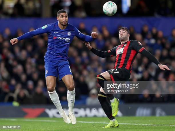 Ruben LoftusCheek of Chelsea is challenged by Diego Rico of AFC Bournemouth during the Carabao Cup Quarter Final match between Chelsea and AFC...