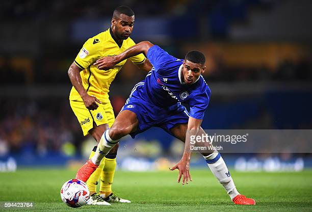 Ruben LoftusCheek of Chelsea is closed down by Jermaine Easter of Bristol Rovers during the EFL Cup second round match between Chelsea and Bristol...