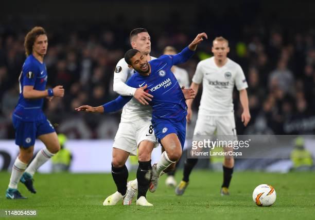 Ruben LoftusCheek of Chelsea is fouled by Luka Jovic of Eintracht Frankfurt during the UEFA Europa League Semi Final Second Leg match between Chelsea...