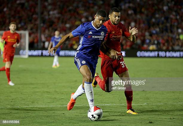 Ruben LoftusCheek of Chelsea is pursued by Kevin Stewart of Liverpool in the second half during the 2016 International Champions Cup at Rose Bowl on...