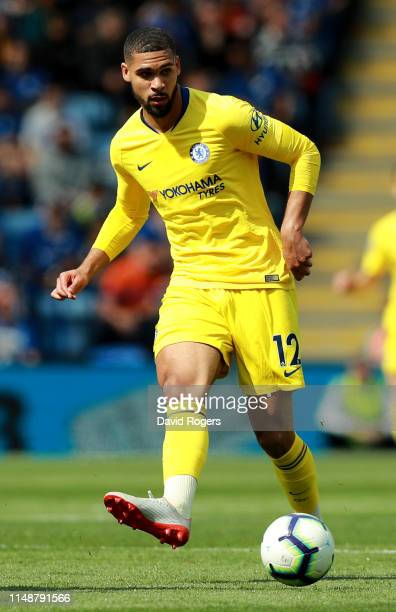 Ruben LoftusCheek of Chelsea passes the ball during the Premier League match between Leicester City and Chelsea FC at The King Power Stadium on May...