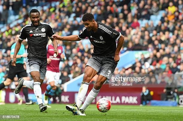 Ruben LoftusCheek of Chelsea scores his team's first goal during the Barclays Premier League match between Aston Villa and Chelsea at Villa Park on...