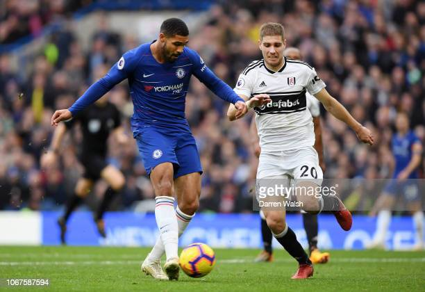 Ruben LoftusCheek of Chelsea scores his team's second goal during the Premier League match between Chelsea FC and Fulham FC at Stamford Bridge on...
