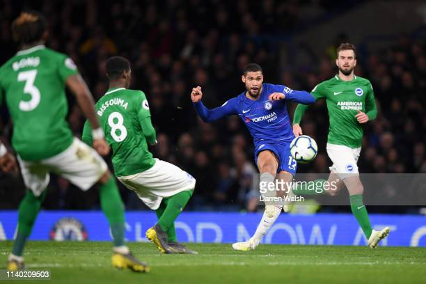 Ruben LoftusCheek of Chelsea scores his team's third goal during the Premier League match between Chelsea FC and Brighton Hove Albion at Stamford...
