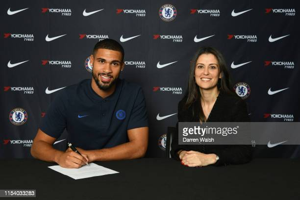Ruben LoftusCheek of Chelsea signs a contract extension alongside Director of Chelsea Marina Granovskaia at Stamford Bridge on July 3 2019 in London...