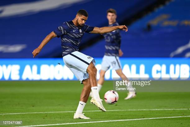 Ruben LoftusCheek of Chelsea warms up prior to the Premier League match between Brighton Hove Albion and Chelsea at American Express Community...