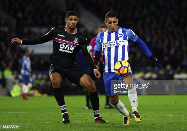 Ruben LoftusCheek of Crystal Palace and Anthony Knockaert of Brighton and Hove Albion during the Premier League match between Brighton and Hove...