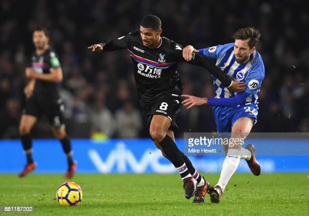 Ruben LoftusCheek of Crystal Palace and Davy Propper of Brighton and Hove Albion during the Premier League match between Brighton and Hove Albion and...