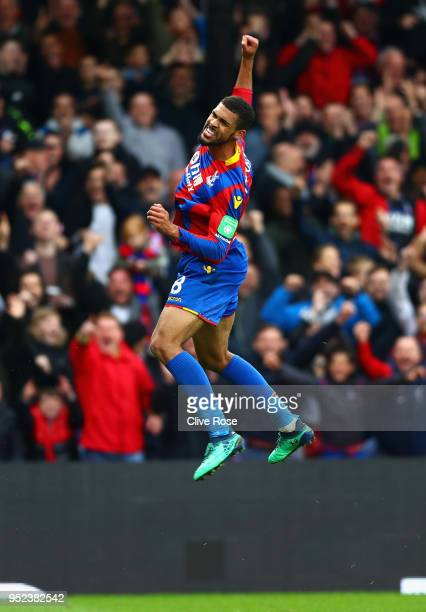 Ruben LoftusCheek of Crystal Palace celebrates after scoring his sides third goal during the Premier League match between Crystal Palace and...