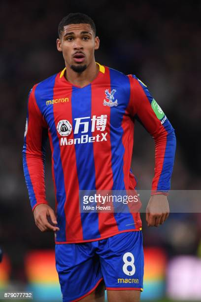 Ruben LoftusCheek of Crystal Palace celebrates after scoringlooks on Premier League match between Crystal Palace and Stoke City at Selhurst Park on...