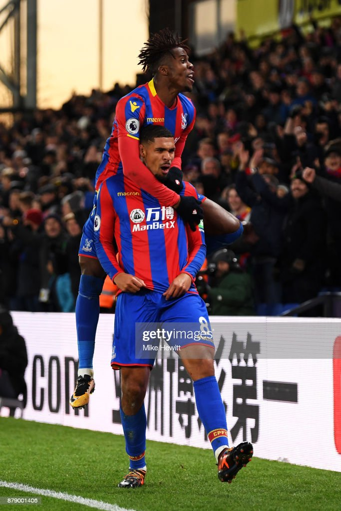 Ruben Loftus-Cheek of Crystal Palace celebrates scoring his sides first goal with Wilfried Zaha of Crystal Palace during the Premier League match between Crystal Palace and Stoke City at Selhurst Park on November 25, 2017 in London, England.