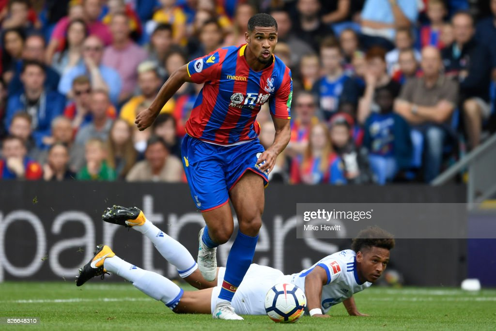 Ruben Loftus-Cheek of Crystal Palace gets past Thino Kehrer of Schalke during a Pre Season Friendly between Crystal Palace and FC Schalke 04 at Selhurst Park on August 5, 2017 in London, England.