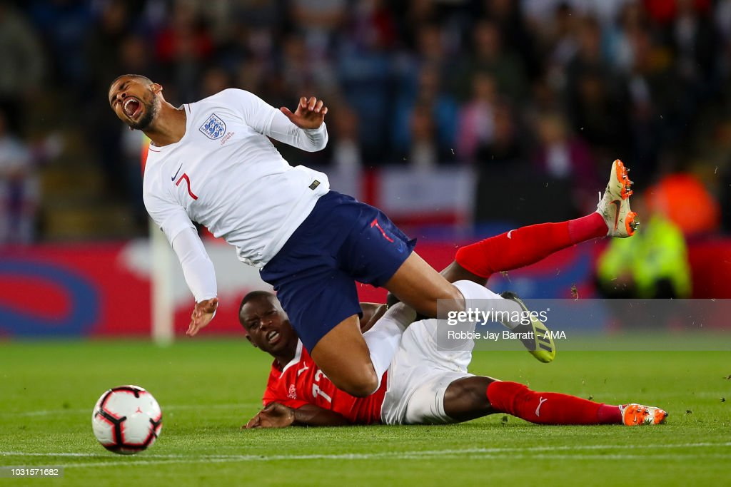 Ruben Loftus-Cheek of England and Denis Zakaria of Switzerland during the International Friendly match between England and Switzerland at The King Power Stadium on September 11, 2018 in Leicester, United Kingdom.