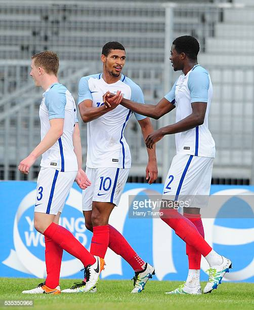 Ruben Loftus-Cheek of England celebrates after scoring his sides second goal during the Final of the Toulon Tournament between England and France at...