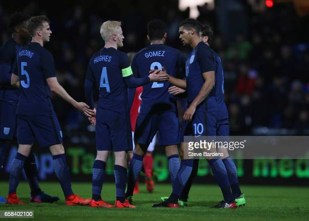 Ruben LoftusCheek of England celebrates as he scores their fourth goal with Will Hughes during the U21 international friendly match between Denmark...