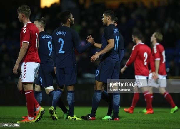Ruben LoftusCheek of England celebrates as he scores their fourth goal with Joe Gomez during the U21 international friendly match between Denmark and...
