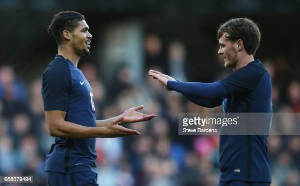 Ruben LoftusCheek of England celebrates as scores their first goal with with John Swift during the U21 international friendly match between Denmark...