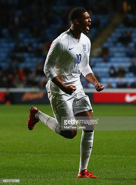 Ruben LoftusCheek of England celebrates his goal during the European Under 21 Qualifier match between England U21 and Kazakhstan U21 at Ricoh Arena...