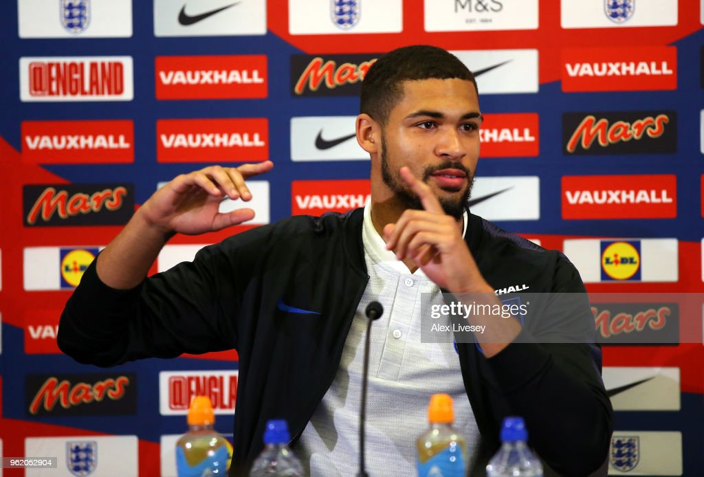 Ruben Loftus-Cheek of England faces the media during a press conference at St Georges Park on May 22, 2018 in Burton-upon-Trent, England.