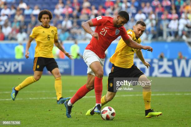 Ruben LoftusCheek of England is challenged by Thomas Vermaelen of Belgium during the 2018 FIFA World Cup Russia 3rd Place Playoff match between...