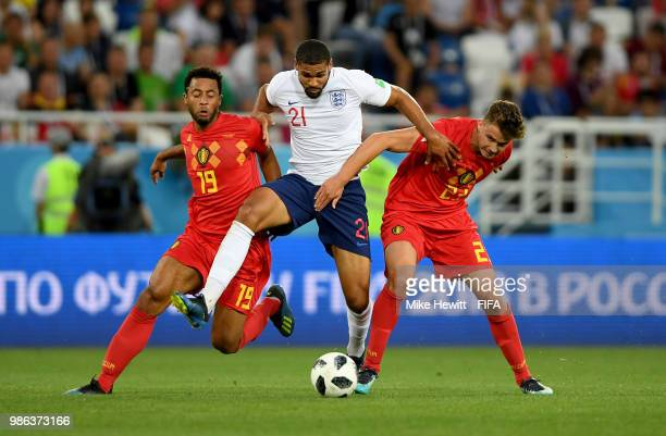 Ruben LoftusCheek of England is tackled by Mossua Dembele and Leander Dendoncker of Belgium during the 2018 FIFA World Cup Russia group G match...